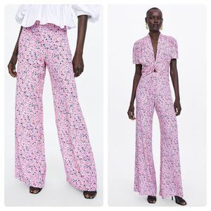 Zara Printed Flared Pants - High Waist Pink Floral